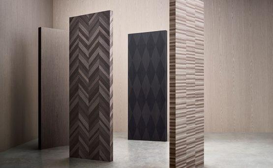 pannelli in legno con decorazioni realizzate da Piero Lissoni