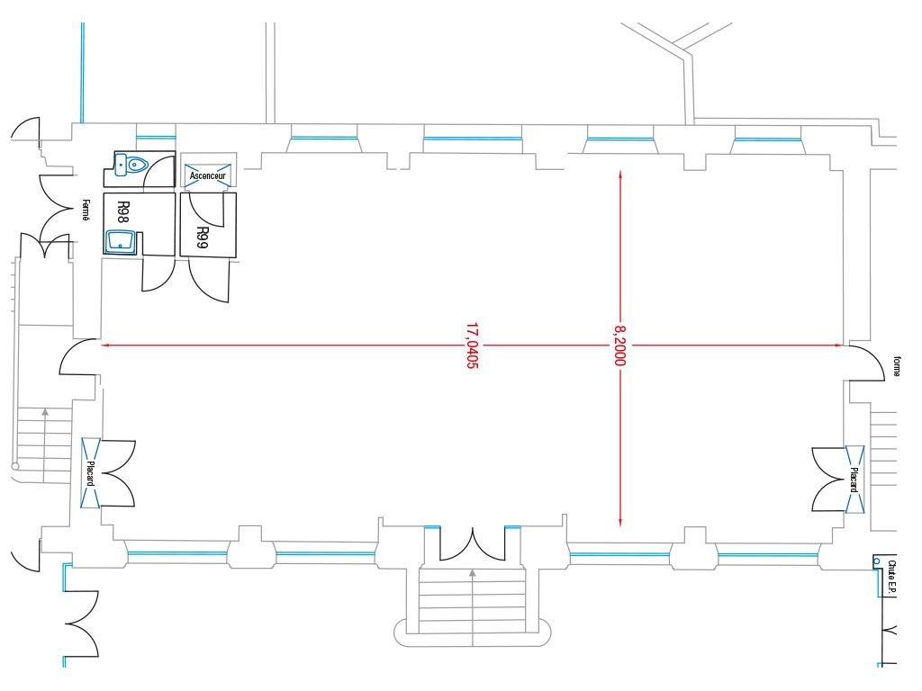 Pianta schematica del coworking a Pigalle - Parigi