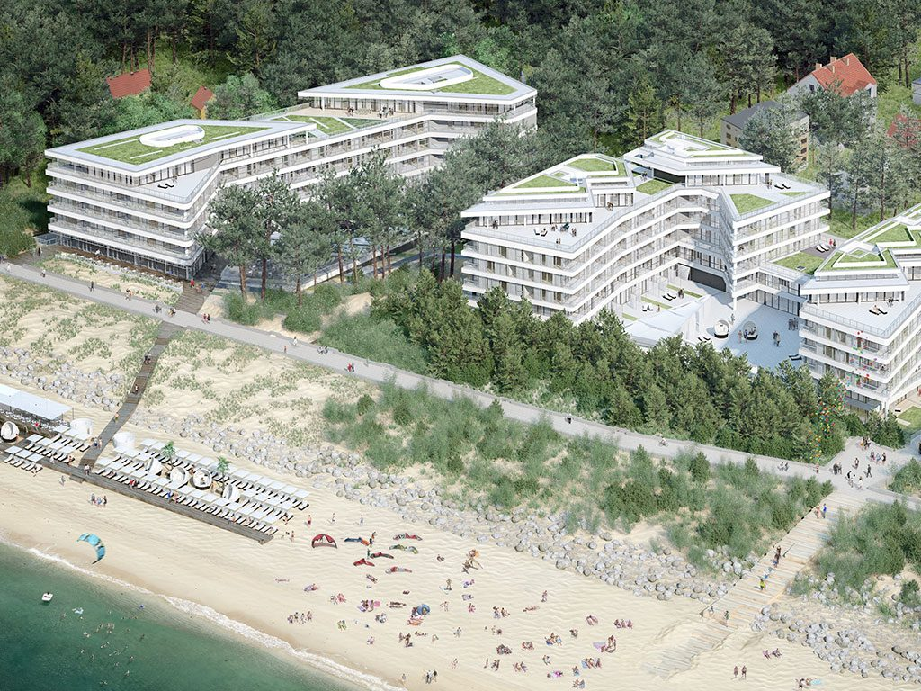 vista globale del complesso costruttivo e della spiaggia Dune
