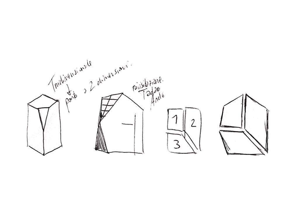Disegni per la progettazione del logo ARKT - space to architecture