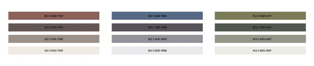 Palette dei colori primari che sfumano in base alla tonalità