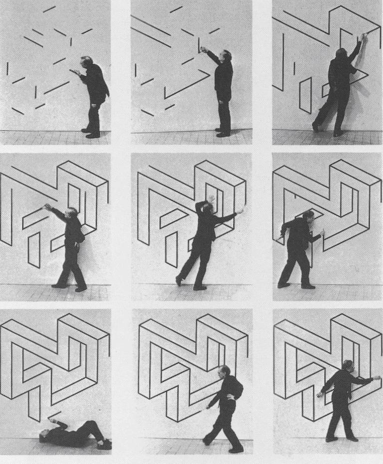 Oscar Reutersvär mentre disegna geometrie impossibili