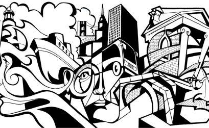 Immagine cubista in bianco e nero di una città e i suoi abitanti