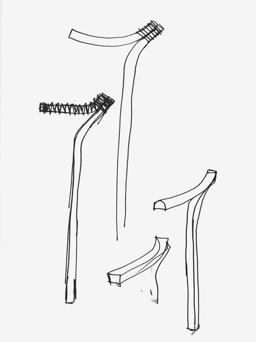 Vari sketch di un bastone da passeggio