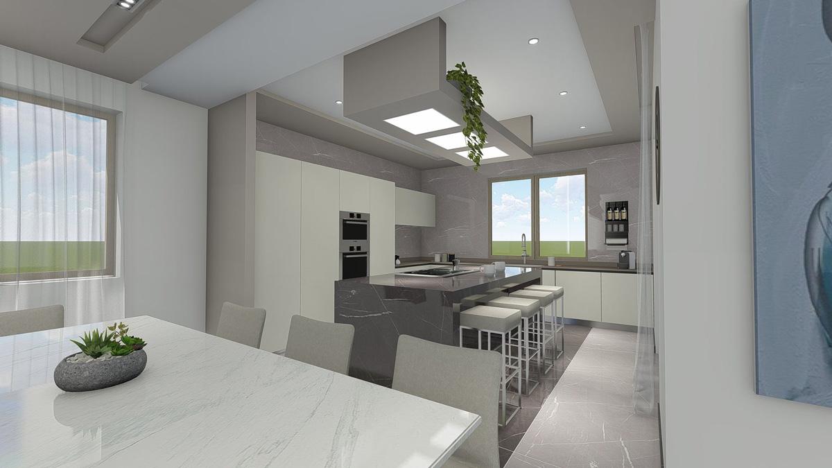 Render di una cucina con al centro un'isola e del mobilio attorno