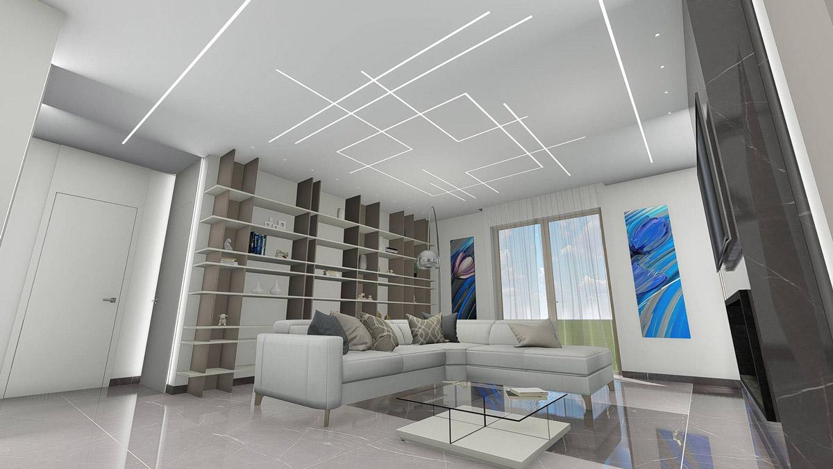 Render di un salotto con al centro un divano bianco e, dietro, una libreria