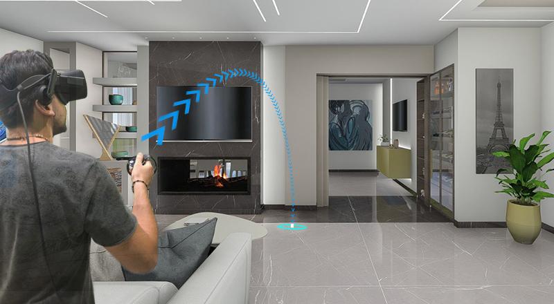 Raffigurazione di una persona all'interno di un ambiente 3D
