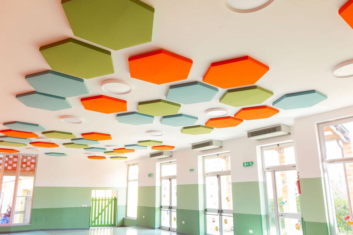 Aula con pannelli Phonolook esagonali di diversi colori appesi al soffitto