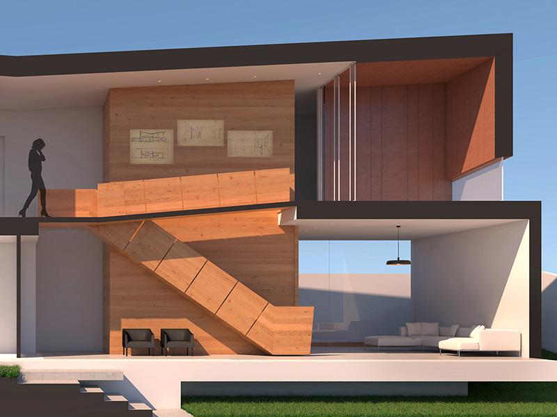 """Schema della """"passerella"""" che collega i vari piani dell'edificio"""
