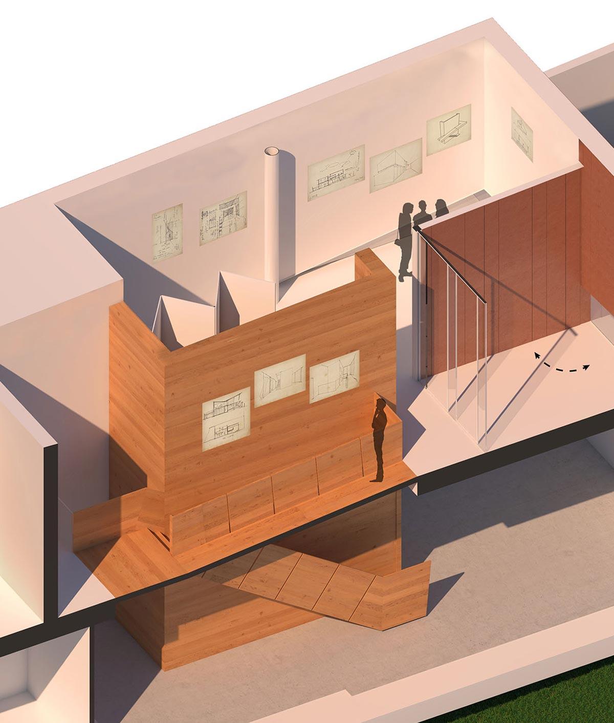 Schema tridimensionale della passerella che collega i vari piani e di un utente che visualizza le opere d'arte all'interno