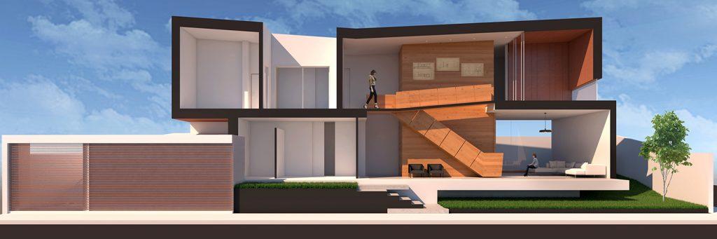 Immagine che visualizza frontalmente tutte le stanze e i piani interni della O-House