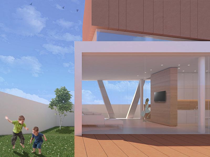 Bambini che giocano in giardino affianco all'edificio costituito da una vetrata