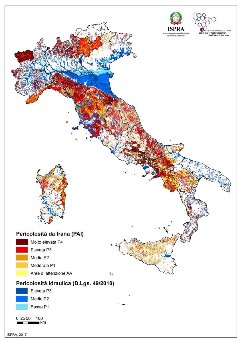 Mappa dell'Italia che indica le zone di pericolosità di frane e idrauliche
