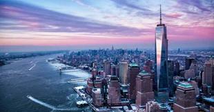Skyline di New York durante il tramonto