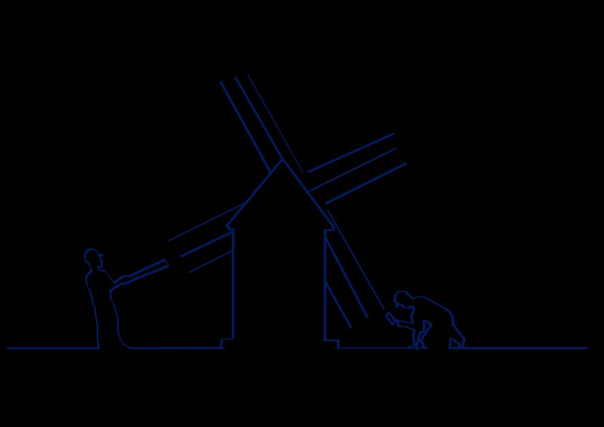 Disegno blu di due operai che costruiscono un mulino a vento