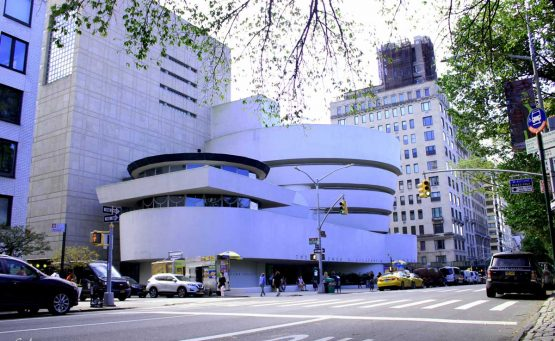 The Guggenheim Museum overlooks the busy Fifth Avenue, on 89th street, in the center of the borough of New York.