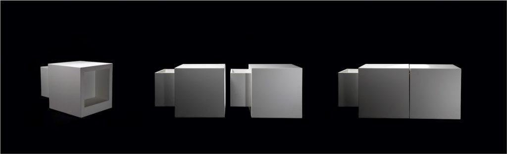 Serie di sedute Domino componibili di colore bianco