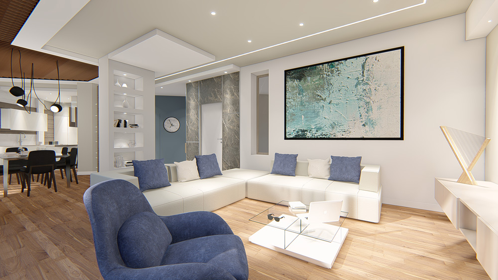 Living area with a white sofa and blue cushions, a glass coffee table in the center and a blue armchair alongside
