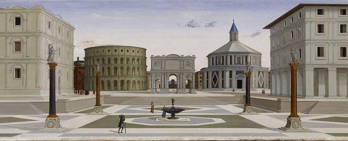 Dipinto con piazza architettonica