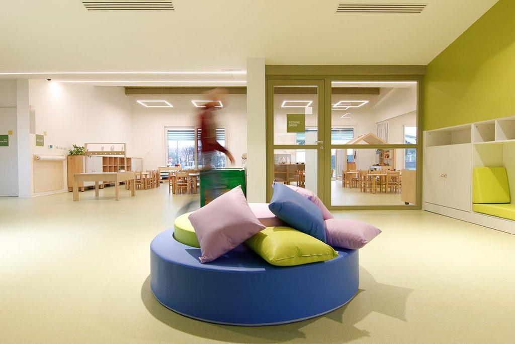 Spazio aperto per avere sala giochi e spazio per il riposo comunicanti