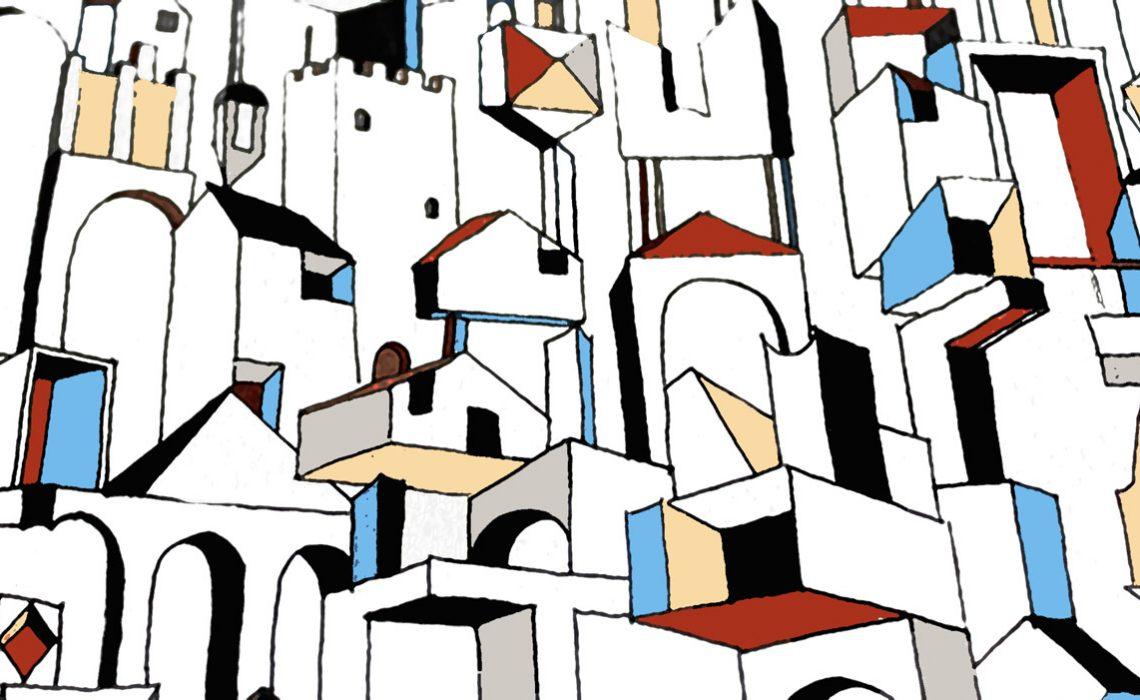 Disegno artistico di una città con colori bianchi, rossi, gialli e blu