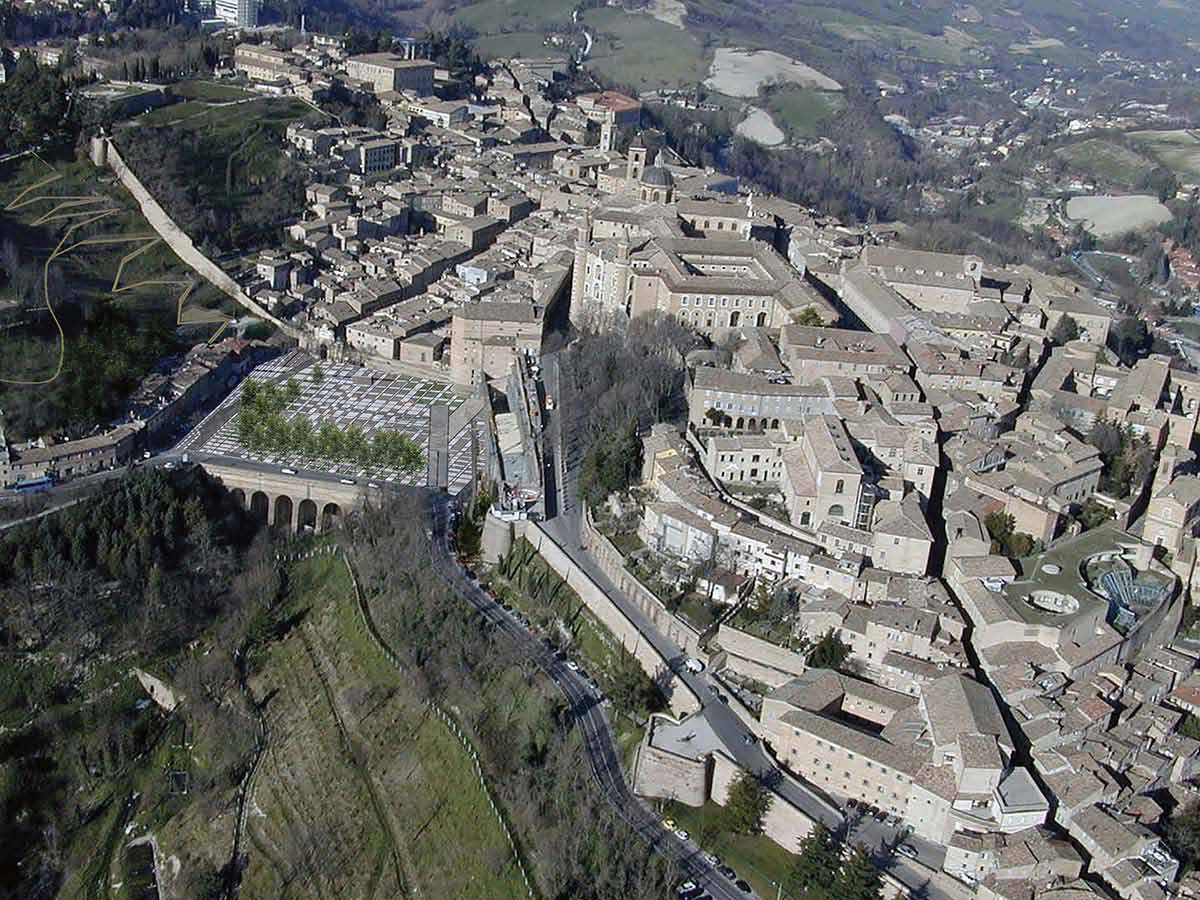 Aerial view of the city of Urbino