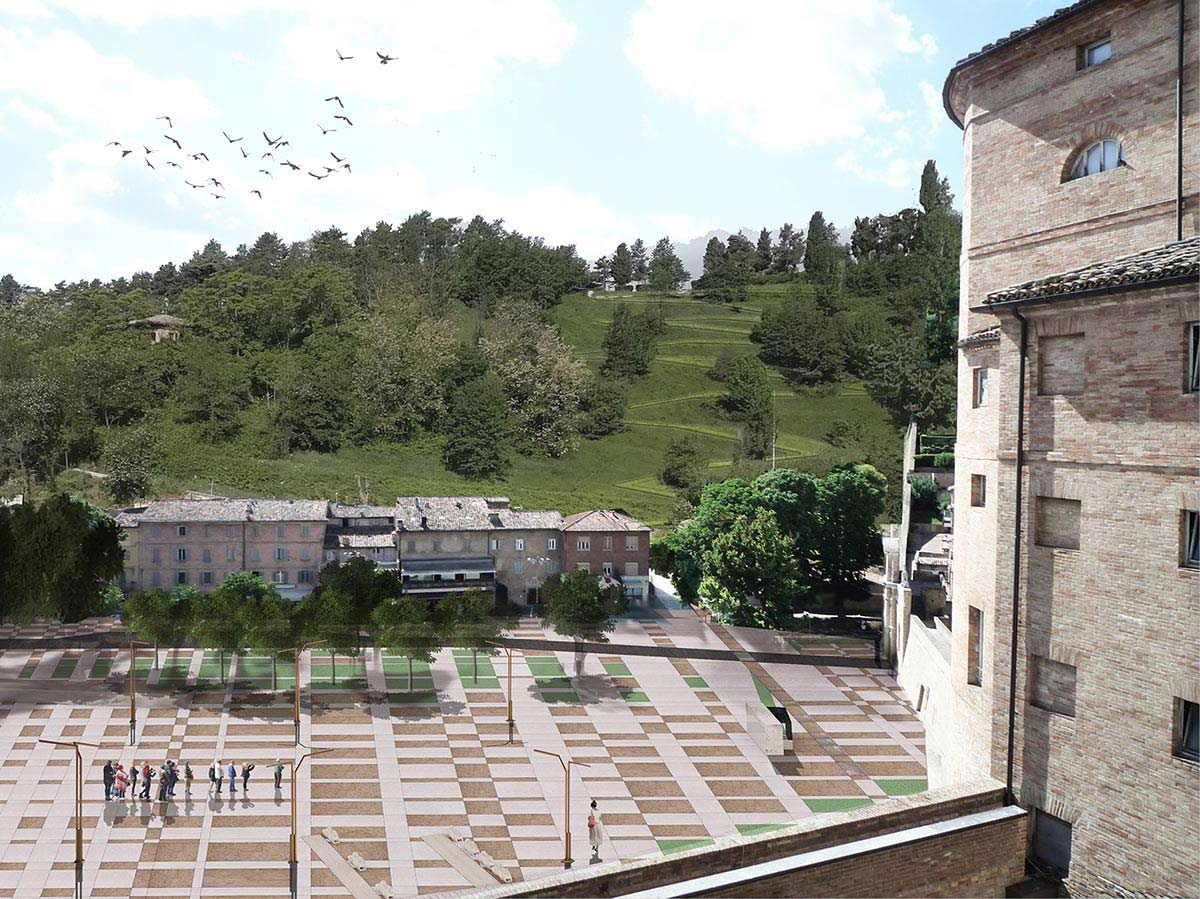 View from the Sanzio Theater area with a group of people on the square below