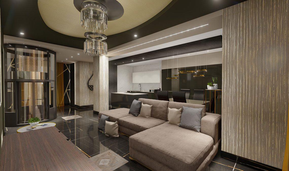 soggiorno openspace con colori beige
