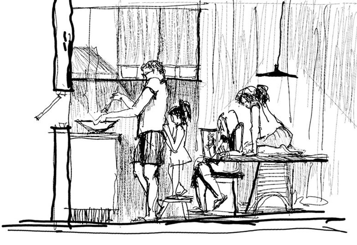 Black and white cartoon of a family busy cooking in the kitchen