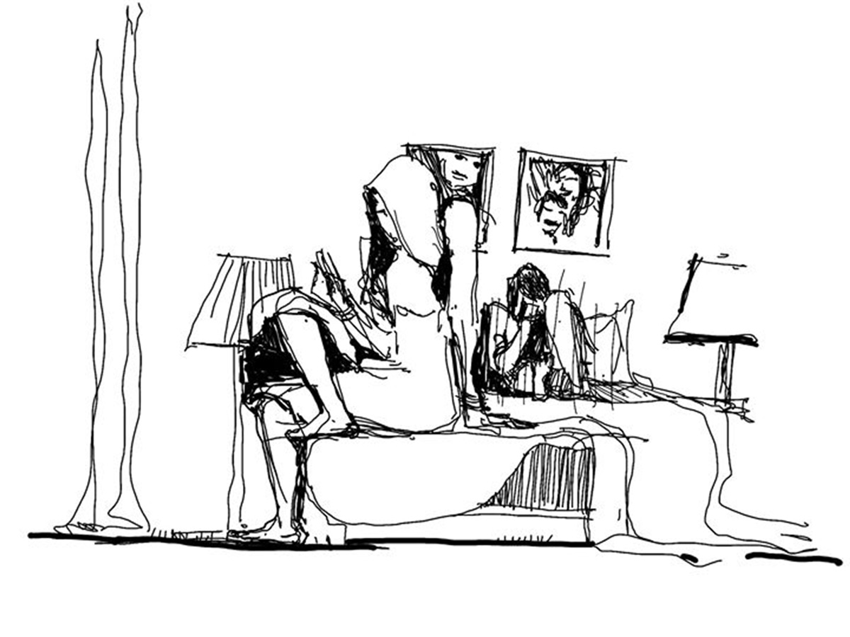 Black and white cartoon of a couple spending time in the room
