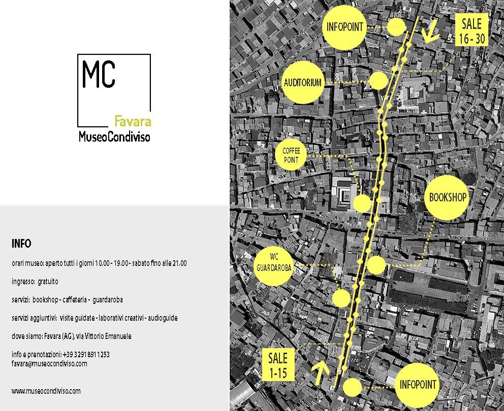 Cartina Museo Condiviso gialla e nera