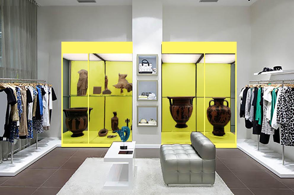 Negozio vetrina gialla