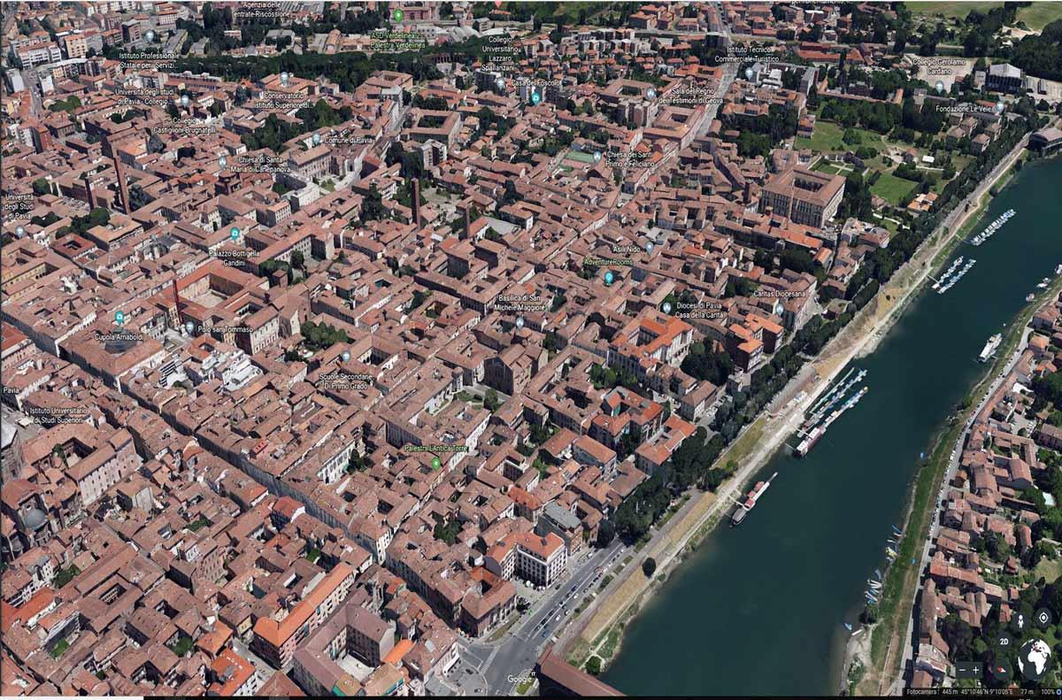Zona di San Michele a Pavia vista da Google Earth