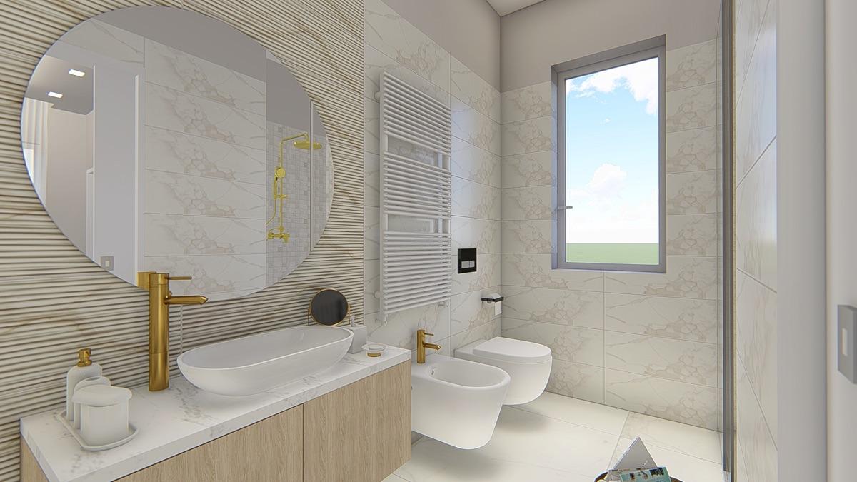 Render di un bagno con mobili in legno e sanitari bianchi