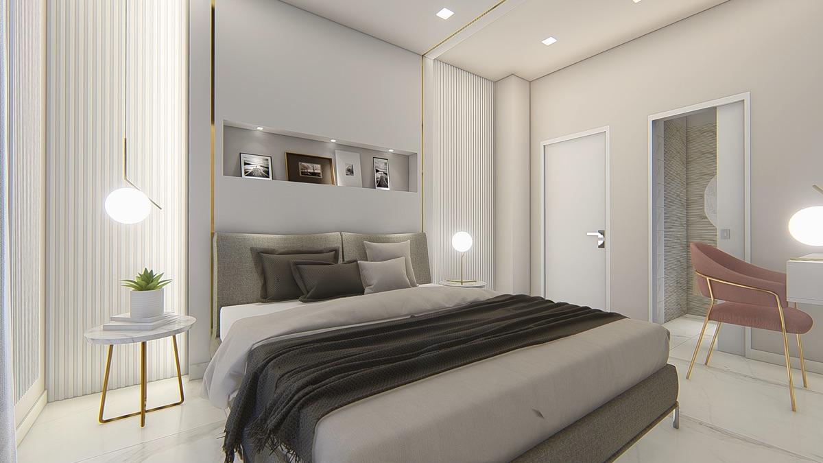 Render di una camera con al centro un letto matrimoniale con coperte bianche e marroni