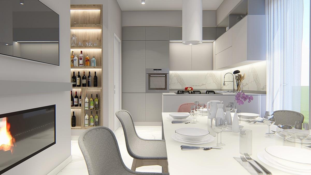 Render di una cucina open space