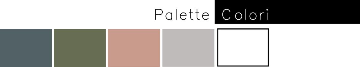 Palette colori: blu, verde, rosa, grigio e bianco