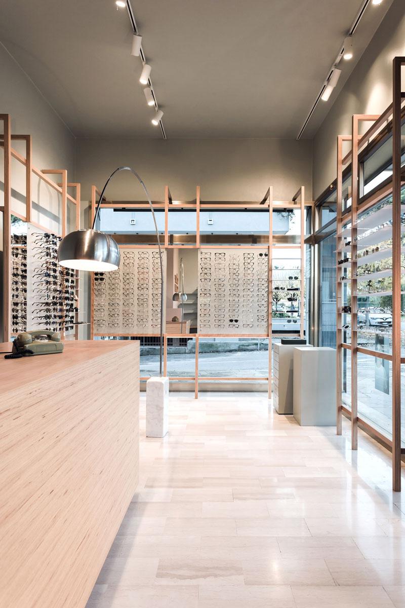 Exhibition hall of the store full of shelves full of glasses
