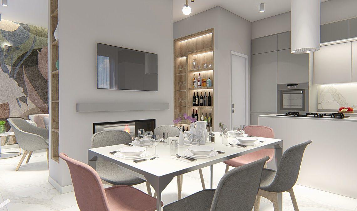 Render di una sala da pranzo con un tavolo bianco e attorno delle sedie grigie e rosa