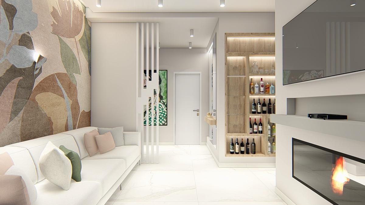 Render di un salotto con pavimento in marmo, un divano bianco e di fronte un camino a muro