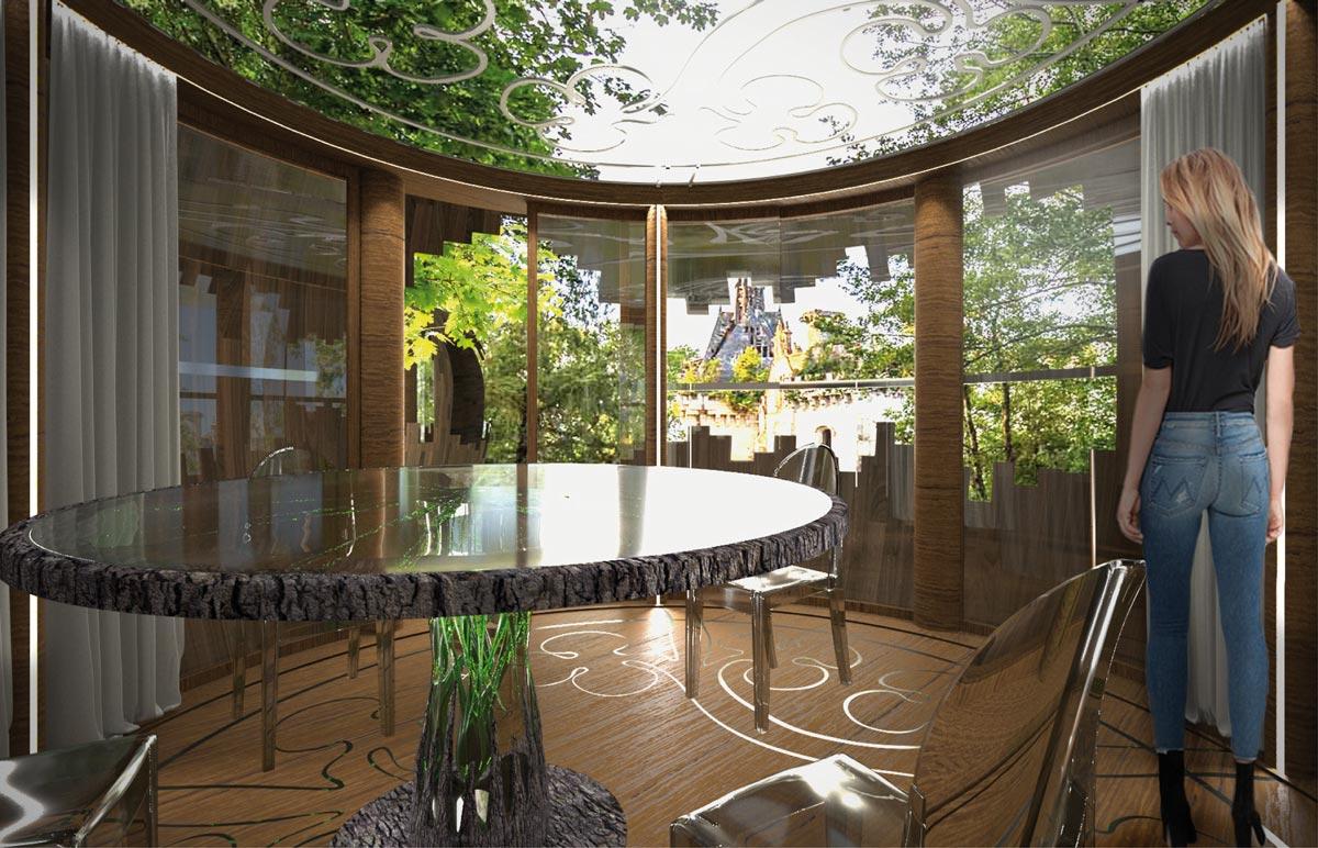 Sala pranzo in legno immersa nel verde