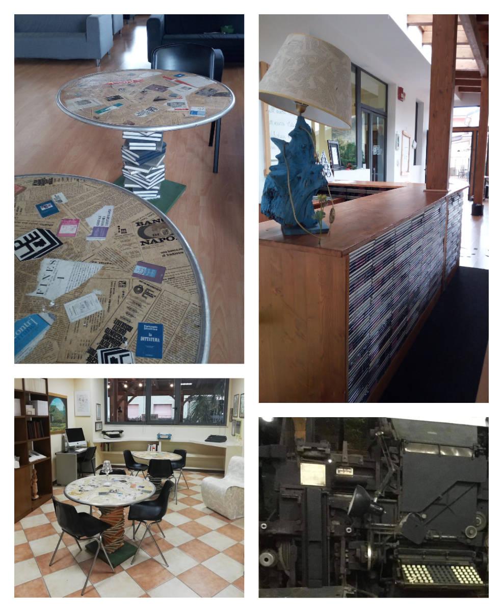 Varie foto che mostrano un angolo lettura composto da dei tavolini
